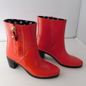 KATE SPADE Penny Rain Boots Red/Orange Rub…